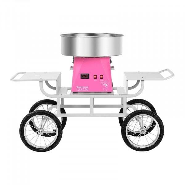 Zuckerwattemaschine Set mit Unterwagen - 52 cm - pink/weiß