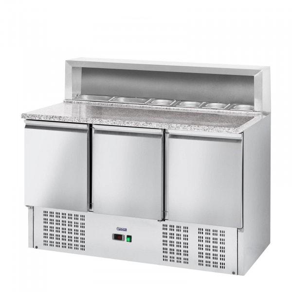 Pizzakühltisch - 379 L - Granitarbeitsplatte - 3 Türen