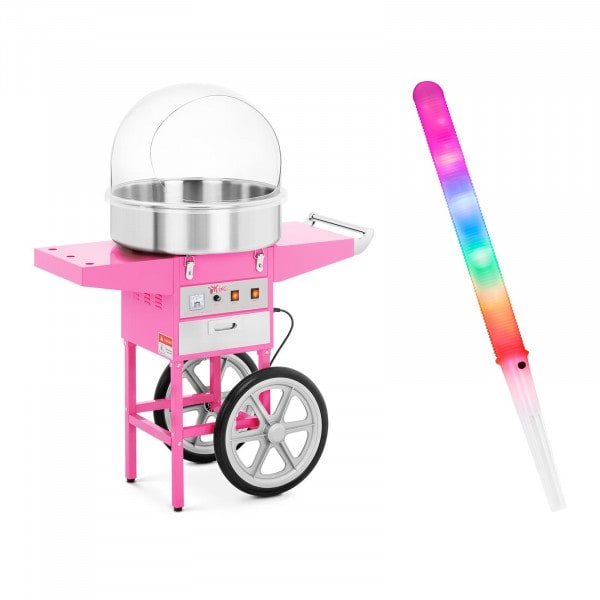 Zuckerwattemaschine Set mit Zuckerwattestäbchen LED - 52 cm - 1.200 W - Wagen - Spuckschutz - 100 St