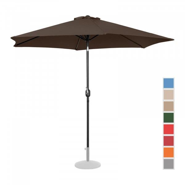 Sonnenschirm groß - braun - sechseckig - Ø 300 cm - neigbar