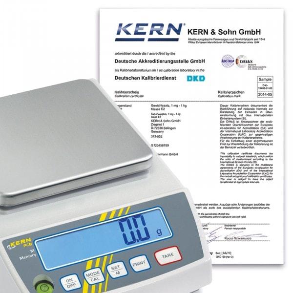 KERN DAkkS-Kalibrierschein für Kranwaagen < 5 kg - 50 kg