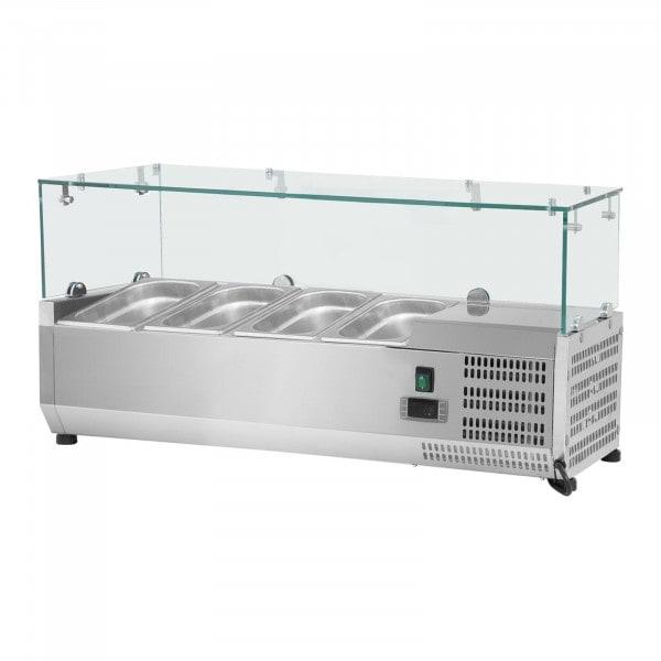 Kühlaufsatzvitrine - 120 x 39 cm - 4 GN 1/3 Behälter - Glasabdeckung