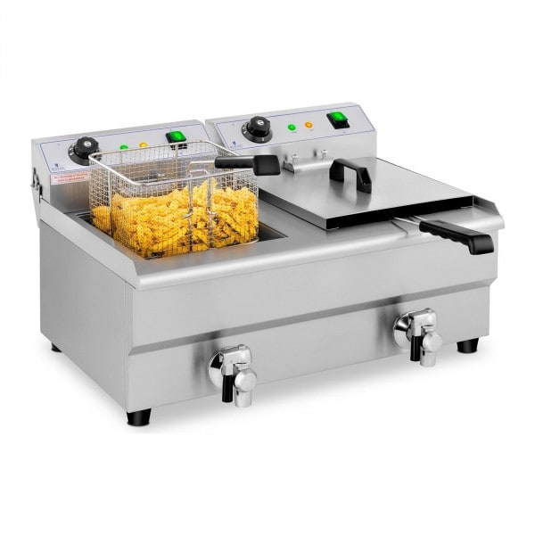 B-WARE Elektro-Fritteuse - 2 x 13 Liter - Ablasshähne - 230 V