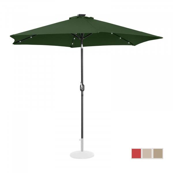Sonnenschirm mit LED - grün - rund - Ø 300 cm - neigbar