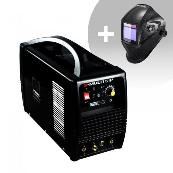 Schweißset Kombi Schweißgerät - WIG 180 A - Cut 50 A - E-Hand- PRO + Schweißhelm – Carbonic