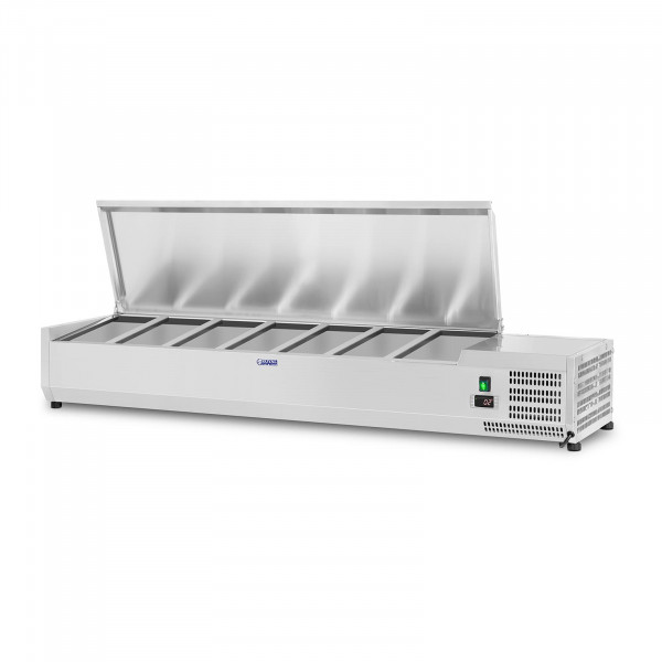 Kühlaufsatzvitrine - 150 x 33 cm - 7 GN 1/4 Behälter