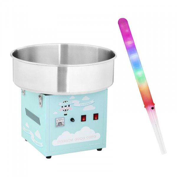 Zuckerwattemaschine mit Zuckerwattestäbchen LED - 52 cm - 1.200 W - 50 Stk. - türkis