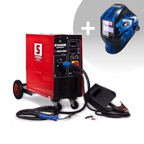 Schweißset Elektroden Schweißgerät - 250 A - 230 V IGBT + Schweißhelm – Sub Zero