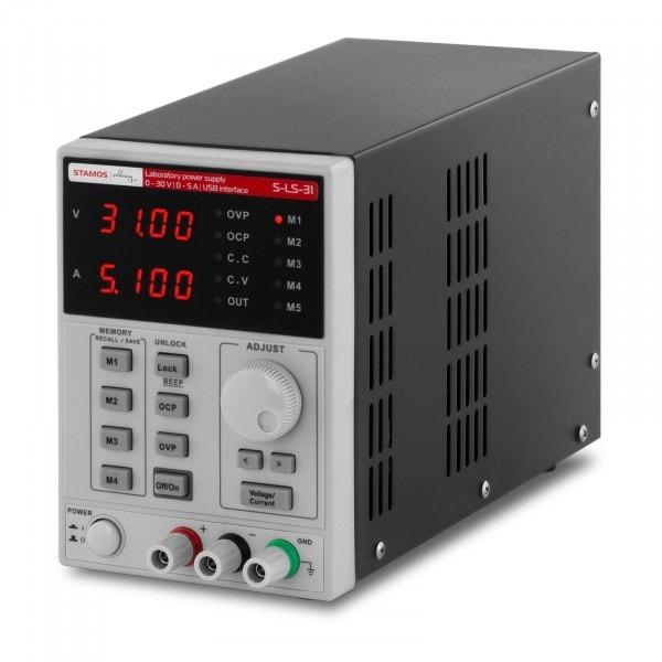 Labornetzgerät - 0-30 V - 0-5 A DC - 250 W - USB - 4 Speicherplätze