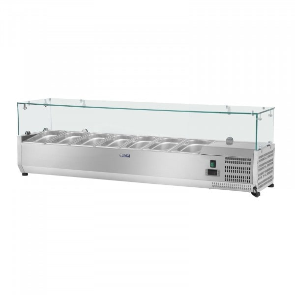 Kühlaufsatzvitrine - 160 x 33 cm - 8 GN 1/4 Behälter - Glasabdeckung