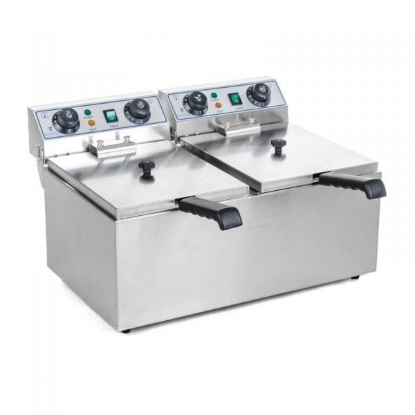 B-WARE Elektro Doppel Fritteuse - 2 x 13 Liter mit Timerfunktion (60 Min)