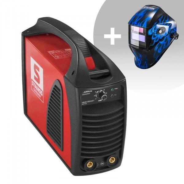 Schweißset Elektroden Schweißgerät – 120 A - Hot Start - IGBT + Schweißhelm – Sub Zero