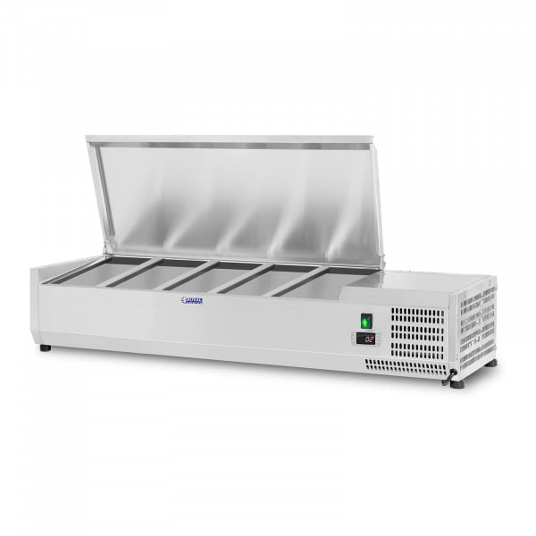 Kühlaufsatzvitrine - 150 x 39 cm - 5 GN 1/3 und 1 GN 1/2 Behälter