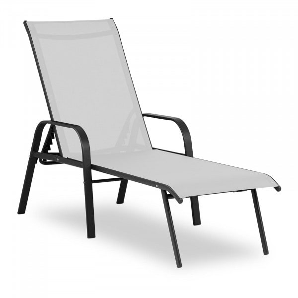 Sonnenliege - hellgrau - Stahlrahmen - verstellbare Rückenlehne