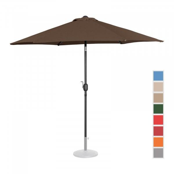 Sonnenschirm groß - braun - sechseckig - Ø 270 cm - neigbar