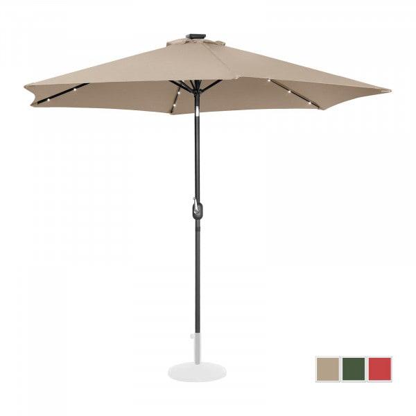 Sonnenschirm mit LED - creme - rund - Ø 300 cm - neigbar
