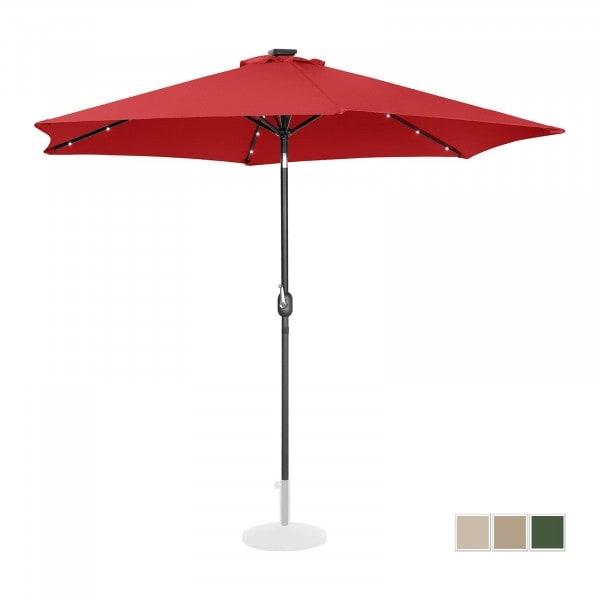 Sonnenschirm mit LED - rot - rund - Ø 300 cm - neigbar