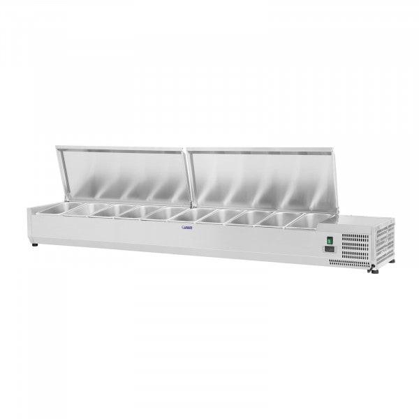 B-Ware Kühlaufsatzvitrine - 200 x 33 cm - 10 GN 1/4 Behälter