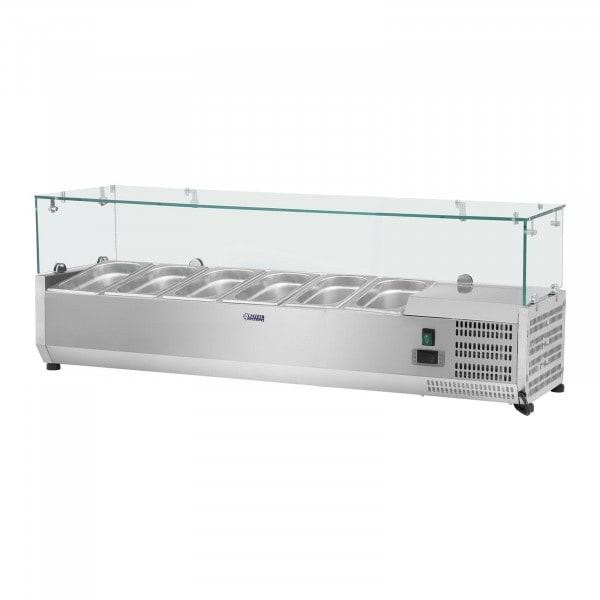Kühlaufsatzvitrine - 150 x 39 cm - 6 GN 1/3 Behälter - Glasabdeckung