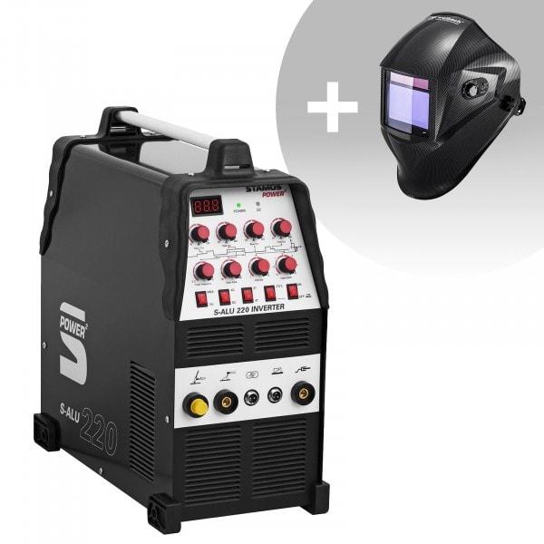 Schweißset ALU Schweißgerät - 200 A - 230 V - Puls - 2/4 Takt + Schweißhelm – Carbonic