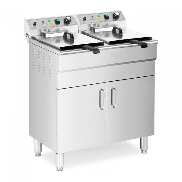Doppel-Elektro-Fritteuse - 26 L - 10.000 W - Ablasshahn - Kaltzone - mit Unterschrank