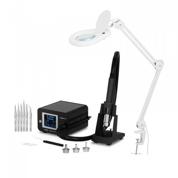 Set Lötstation mit Heißluftkolben und Lupenleuchte - 1.300 W - LCD-Touch