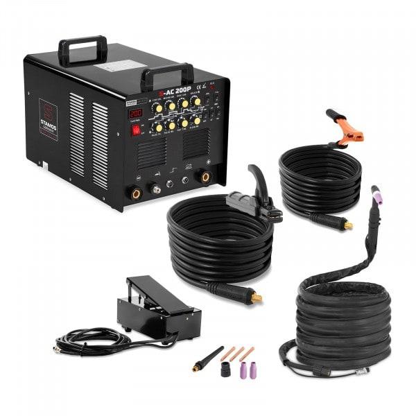 ALU Schweißgerät - 200 A - Puls - 8 Meter Kabel - Fußpedal