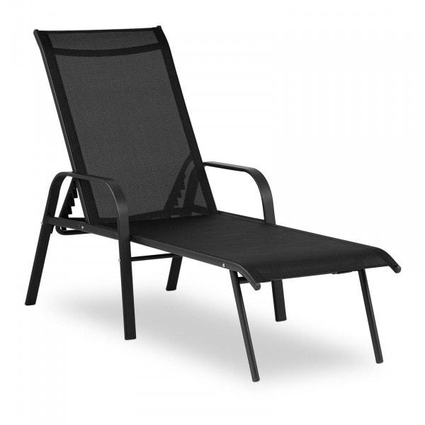 Sonnenliege - schwarz - Stahlrahmen - verstellbare Rückenlehne