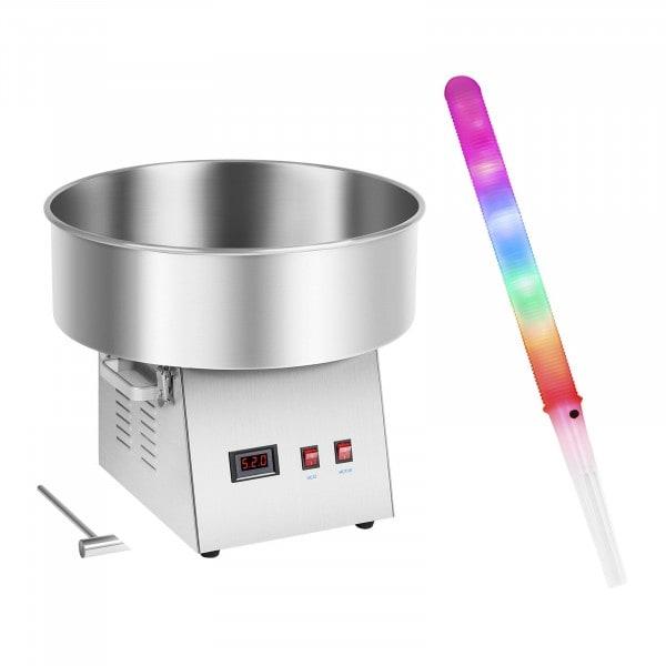 Zuckerwattemaschine mit Zuckerwattestäbchen LED - 52 cm - 1.030 Watt - Edelstahl - 50 Stk.