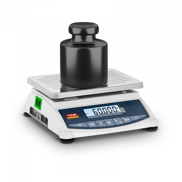 Tischwaage - geeicht - 60 kg / 20 g - LCD - Memory