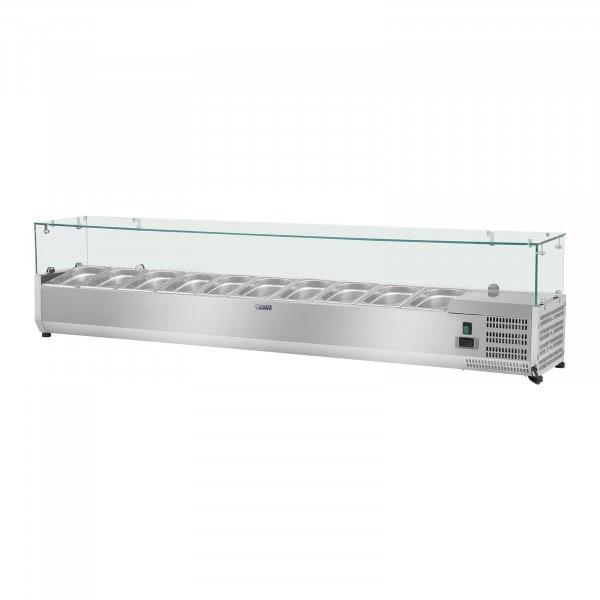 Kühlaufsatzvitrine - 200 x 33 cm - 10 GN 1/4 Behälter - Glasabdeckung