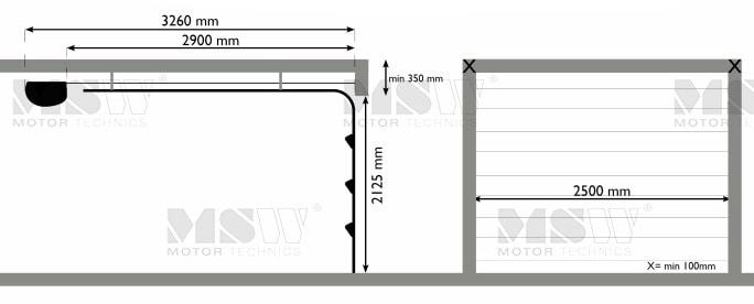 sektionaltor mit antrieb x mm mit 4 fenstern wei. Black Bedroom Furniture Sets. Home Design Ideas