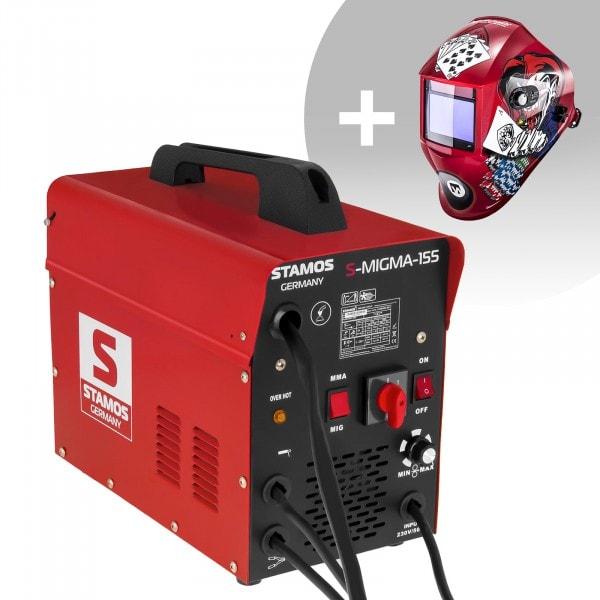 Schweißset Kombi-Schweißgerät - 155 A - 230 V - tragbar + Schweißhelm – Pokerface