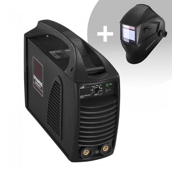 Schweißset Elektroden Schweißgerät – 250 A – Hot Start - IGBT + Schweißhelm – Blaster