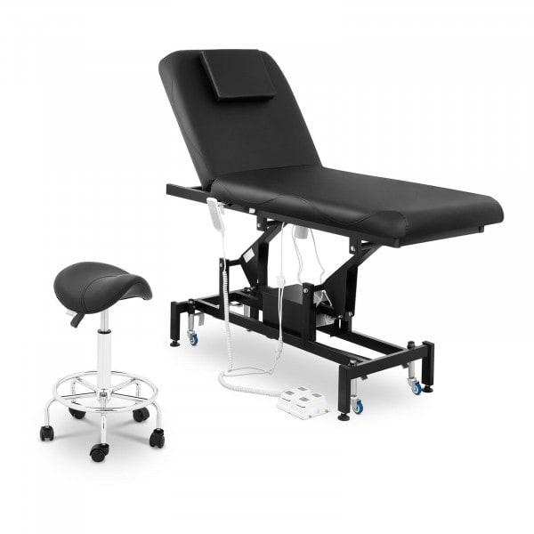 Massageliege elektrisch und Sattelhocker - 2 Motoren - Fußpedal - schwarz