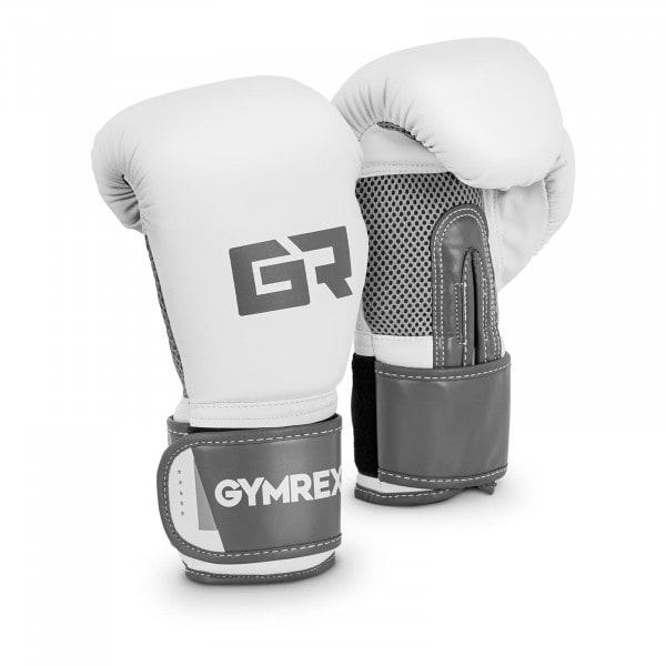 Boxhandschuhe - 10 oz - Mesh innen - weiß und metallic-hellgrau