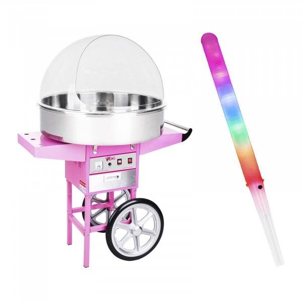 Zuckerwattemaschine Set mit Zuckerwattestäbchen LED - 72 cm - 1.200 W - Wagen - Spuckschutz - 100 St