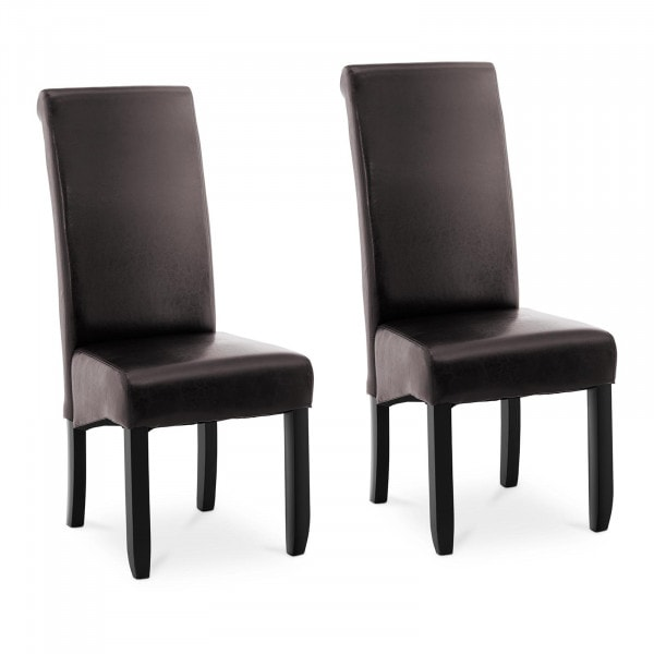 B-Ware Polsterstuhl - 2er Set - bis 180 kg - Sitzfläche 44,5 x 44 cm - dunkelbraun