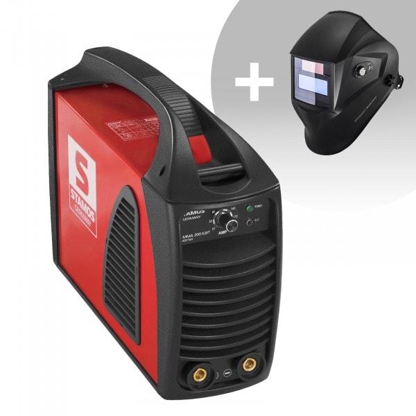Schweißset Elektroden Schweißgerät – 200 A – Hot Start - IGBT + Schweißhelm – Operator