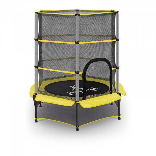 Kindertrampolin - mit Sicherheitsnetz - 140 cm - 50 kg - gelb