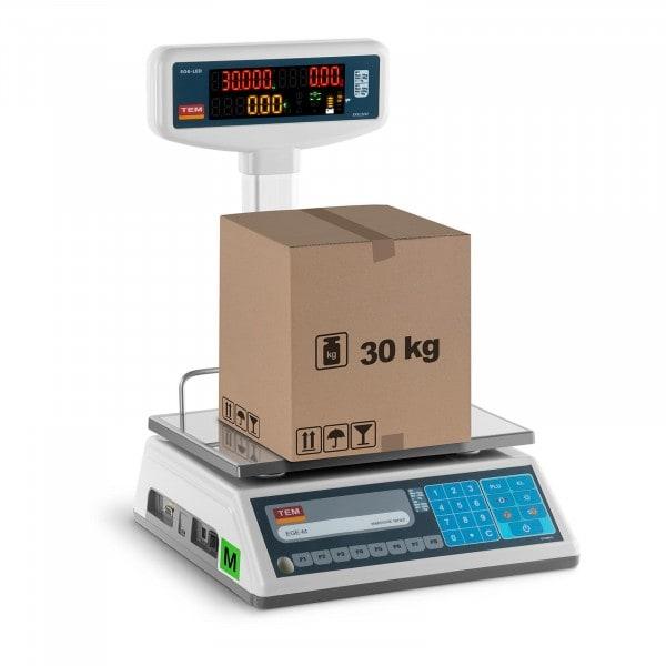 Preisrechenwaage mit LED-Hochanzeige - geeicht - 15 kg/ 5g - 30 kg/10 g