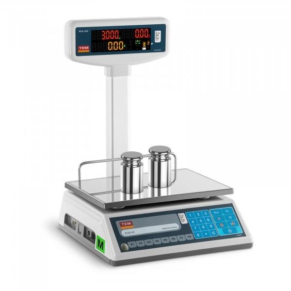 Preisrechenwaage mit LED-Hochanzeige - geeicht - 1,5 kg/ 0,5g - 3 kg/1 g