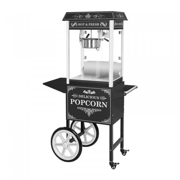 Popcornmaschine mit Wagen - Retro-Design - schwarz