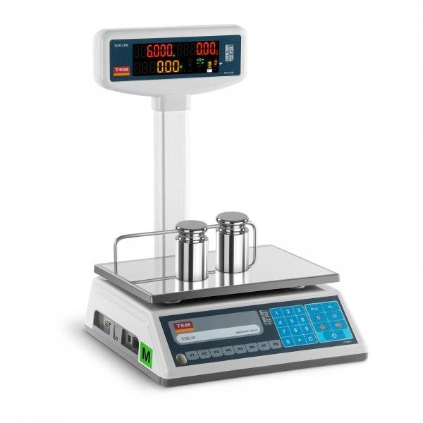 Preisrechenwaage mit LED-Hochanzeige - geeicht - 3 kg/1 g - 6 kg/2 g