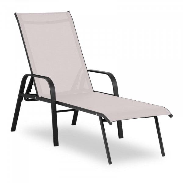 Sonnenliege - beige - Stahlrahmen - verstellbare Rückenlehne