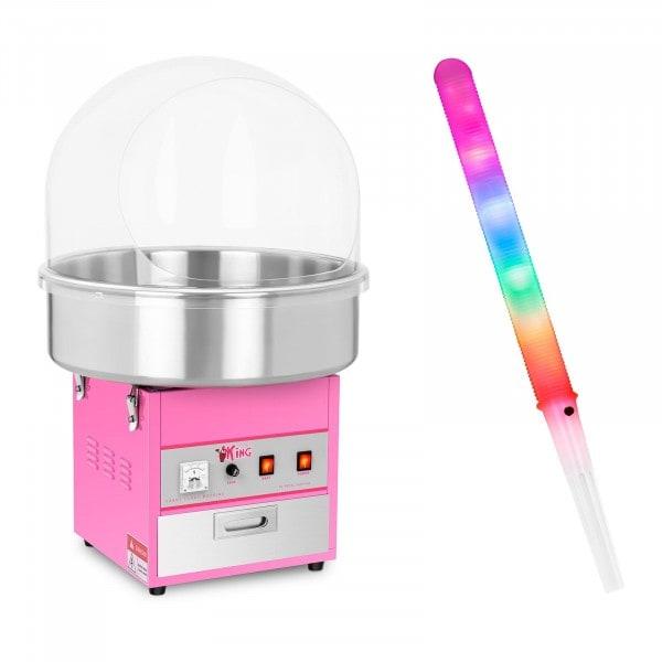 Zuckerwattemaschine Set mit Zuckerwattestäbchen LED - 52 cm - 1.200 W - Spuckschutz - 50 Stk.