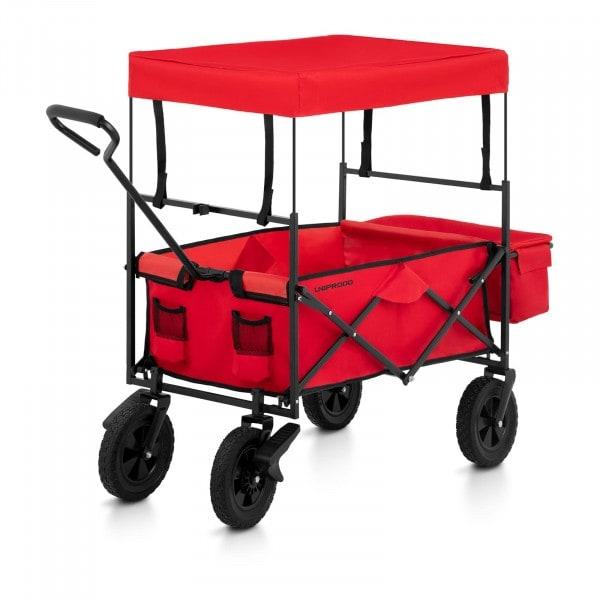 Bollerwagen faltbar mit Dach - Rot - mit Bremsen