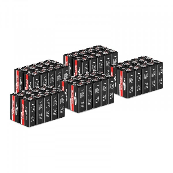 Mega-Sparset 50 x Blockbatterien 6LR61 - Ansmann INDUSTRIAL Alkaline-Batterien - 9 V