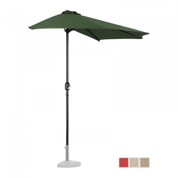 B-WARE Halber Sonnenschirm - Grün - fünfeckig - 270 x 135 cm
