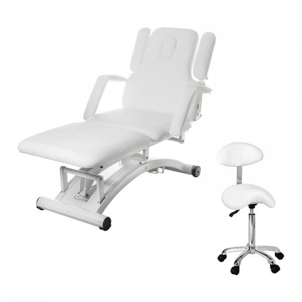 Set Massageliege elektrisch und Sattelhocker - 3 Motoren - Fernbedienung - weiß